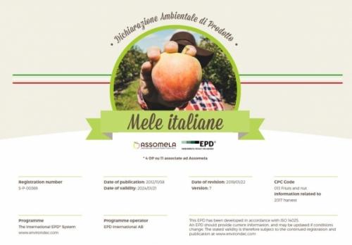 Assomela pubblica il settimo aggiornamento della Dichiarazione Ambientale di Prodotto delle Mele Italiane
